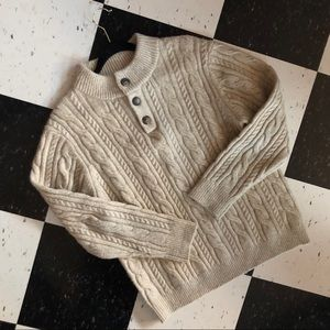 marine layer - wool cable knit henley sweater